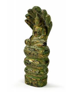 Narozeninový Buddha, sobota, teak, zelená patina, 23cm