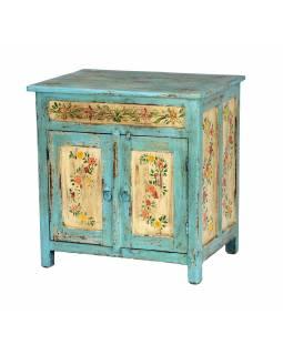 Ručně malovaná skříňka z teakového dřeva, 61x45x64cm