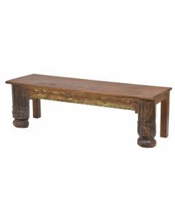 Stolek/lavice ze starého portálu a teakového dřeva, 152x46x46cm