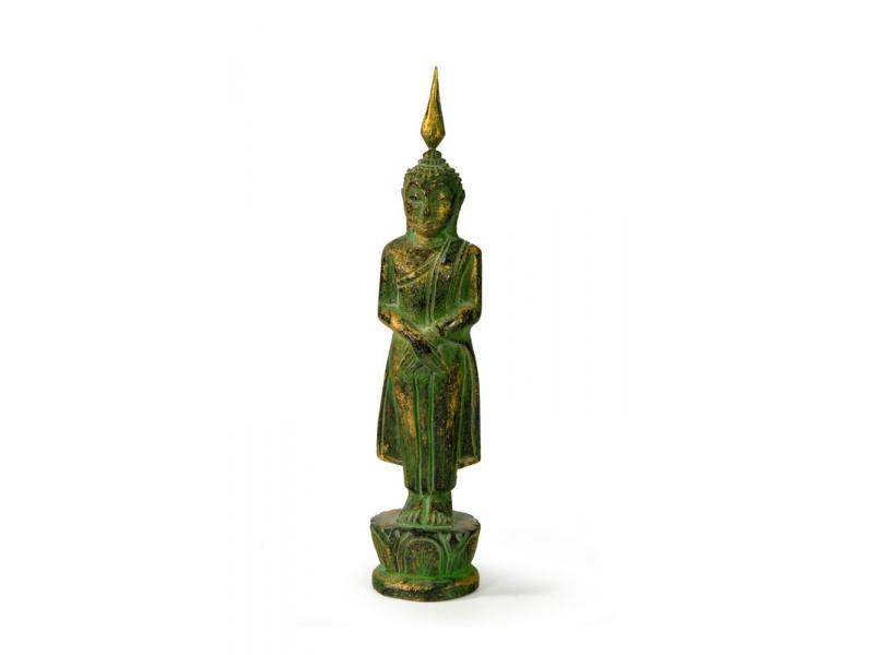 Narozeninový Buddha, neděle, teak, zelená patina, 23cm