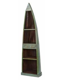 Knihovna z mangového dřeva ve tvaru lodi, 59x45x210cm
