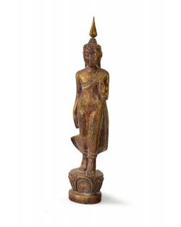 Narozeninový Buddha, pondělí, teak, hnědá patina, 26cm