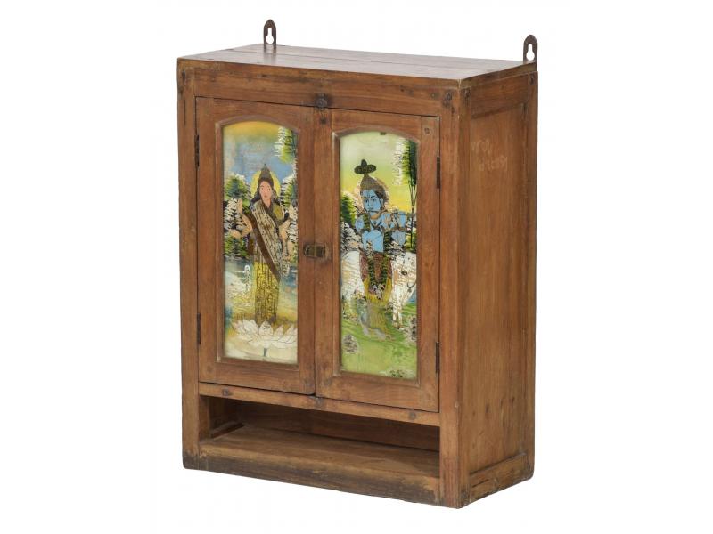 Prosklená skříňka z teakového dřeva, Krišna a Parvátí, 54x26x69cm