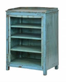 Knihovna z teakového dřeva, tyrkysová patina, 68x44x94cm