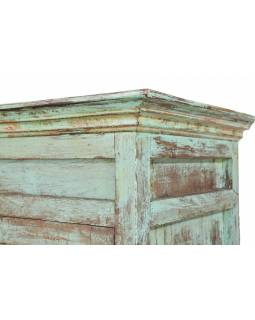 Šatní skříň z teakového dřeva, tyrkysová patina, 103x52x178cm