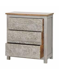 Komoda z mangového dřeva, ručně vyřezávané šuplíky, šedá patina, 83x43x90cm