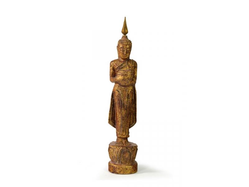 Narozeninový Buddha, středa, teak, hnědá patina, 26cm