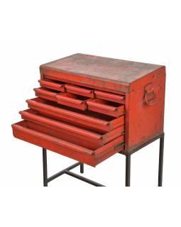 Starý dílenský pořadač se šuplíky na stojanu, 66x38x89cm