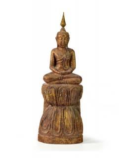 Narozeninový Buddha, čtvrtek, teak, hnědá patina, 26cm