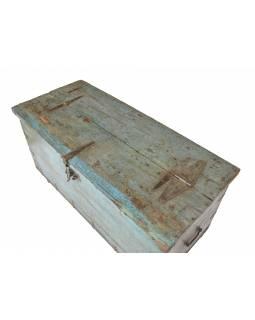 Stará truhla z teakového dřeva, tyrkysová, železné kování, 139x61x69cm