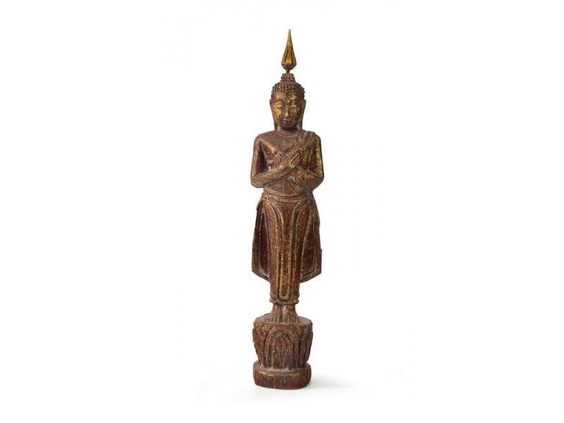 Narozeninový Buddha, pátek, teak, hnědá patina, 26cm