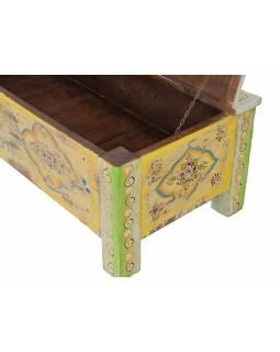 Stará truhla z teakového dřeva, ručně malovaná, zdobená kováním, 112x50x38cm