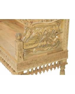 Lavička z mangového dřeva, ručně vyřezávaná, přírodní úprava, 148x65x95cm