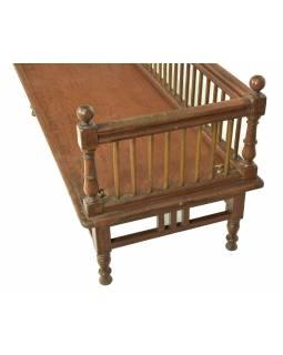 Stará lavička z teakového dřeva, závěsy pro houpačku, 156x62x68cm