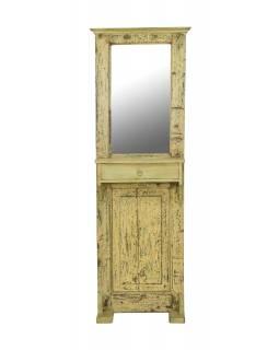 Zrcadlo v rámu na stojanu, šuplík, antik teak, bílá patina, 58x38x188cm