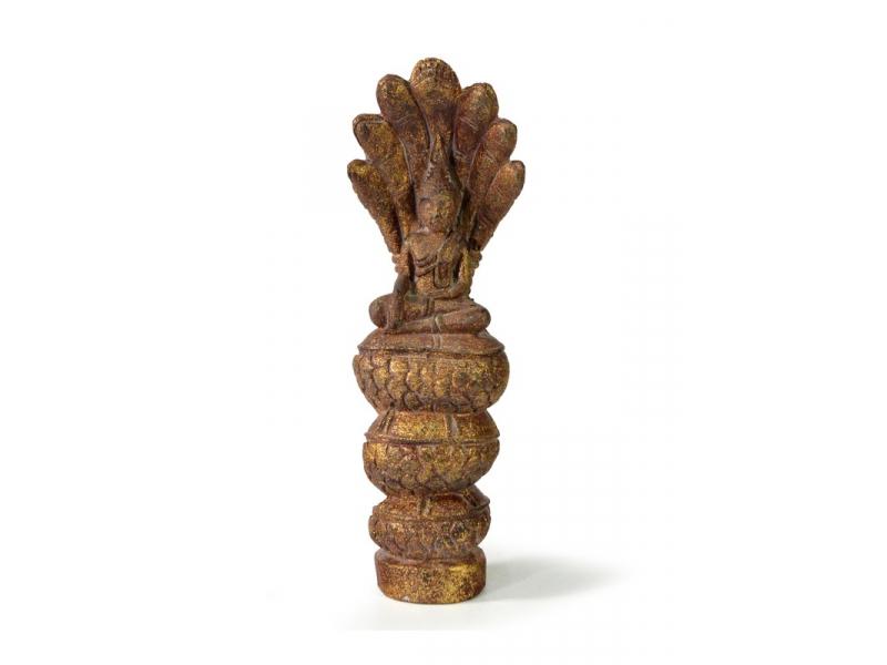 Narozeninový Buddha, sobota, teak, hnědá patina, 26cm