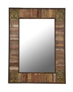 Zrcadlo v rámu, kování hlavy Buddhy, antik teak, 90x5x122cm