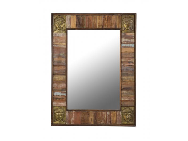 Zrcadlo v rámu, antik teak, kování hlavy Buddhy, 90x5x122cm