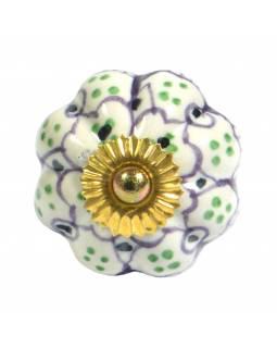 Malovaná porcelánová úchytka na šuplík, bílá, světle fialový květ, zelené tečky