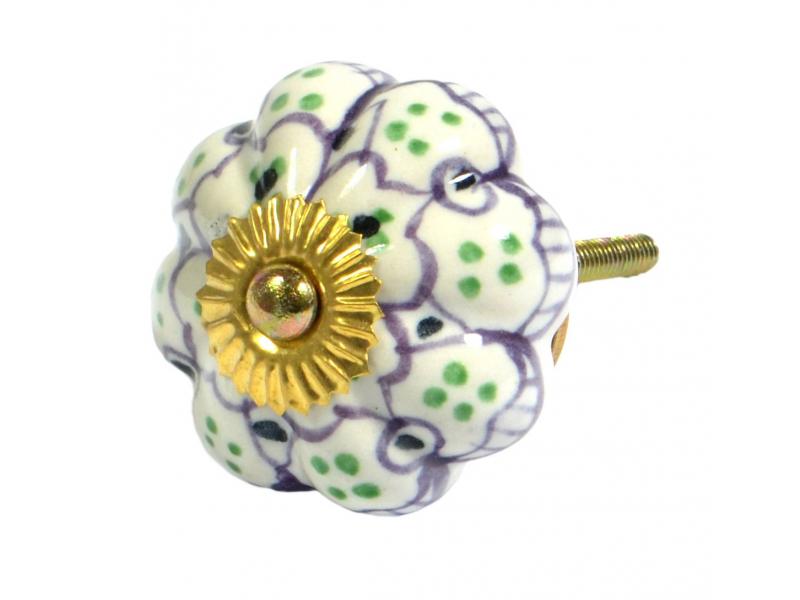 Malované porcelánové madlo na šuplík, bílé, světle fialová květina, zelené tečky