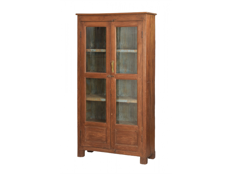 Prosklená skříň z teakového dřeva, tyrkysová uvnitř, 98x36x188cm
