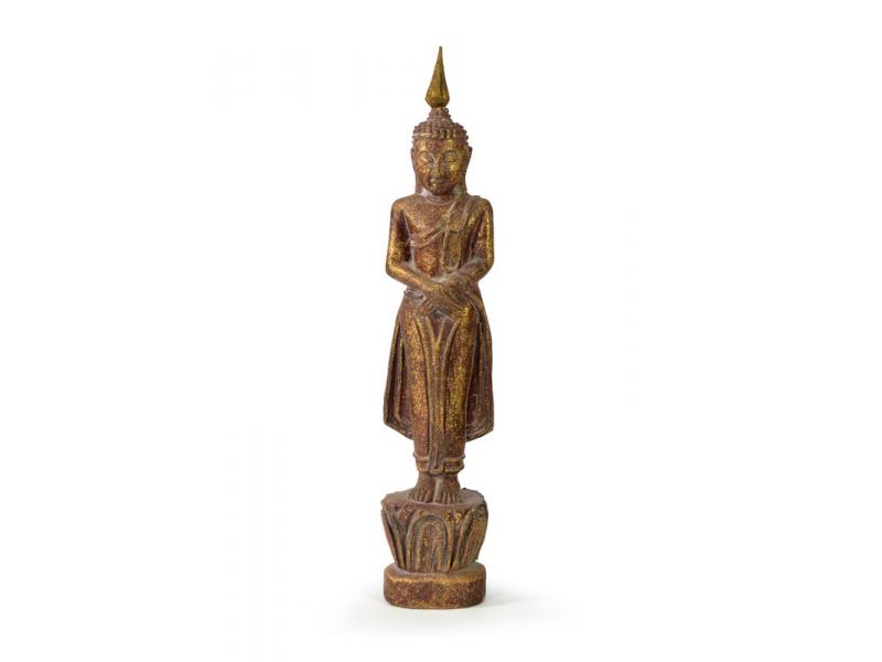 Narozeninový Buddha, neděle, teak, hnědá patina, 26cm