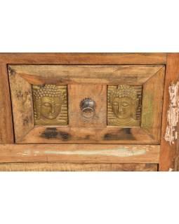 Komoda ze starého teakového dřeva, mosazné kování, reliéfy Buddhů, 85x40x85cm