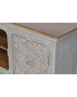 TV komoda z mangového dřeva, ručně vyřezávaná dvířka, 165x43x65cm