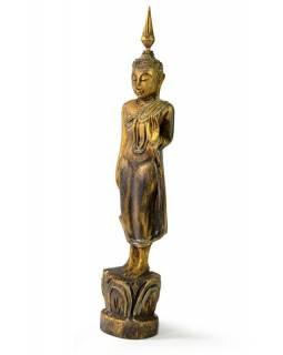 Narozeninový Buddha, pondělí, teak, zlatá patina, 26cm