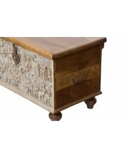 Truhla z mangového dřeva zdobená ručními řezbami, 150x43x45cm