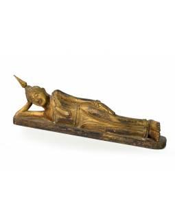 Narozeninový Buddha, úterý, teak, zlatá patina, 26cm
