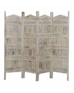 Paravan z mangového dřeva, bílá patina, 200x3x180cm