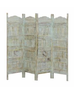 Paravan z mangového dřeva, bílá patina s nádechem tyrkysové, 200x3x180cm