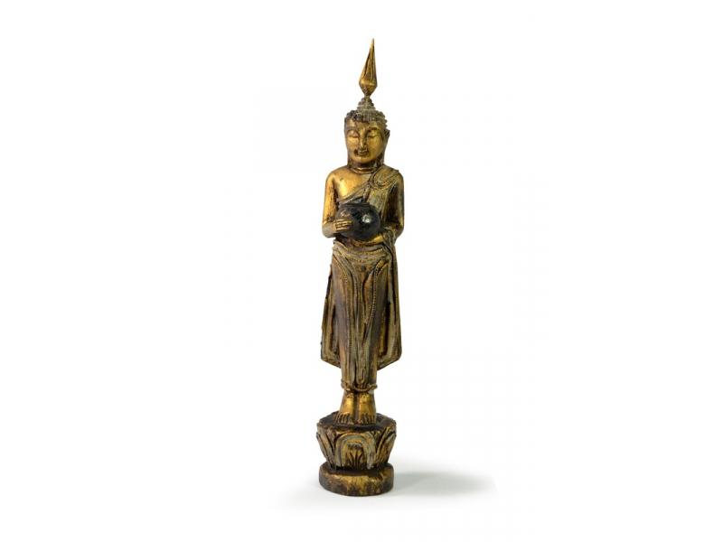 Narozeninový Buddha, středa, teak, zlatá patina, 26cm