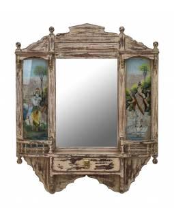 Staré zrcadlo v rámu z teakového dřeva, Krišna a Lakšmí, 80x16x96cm