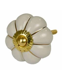 Malované porcelánové madlo na šuplík, bílé, zlatý dekor, průměr 4,5 cm