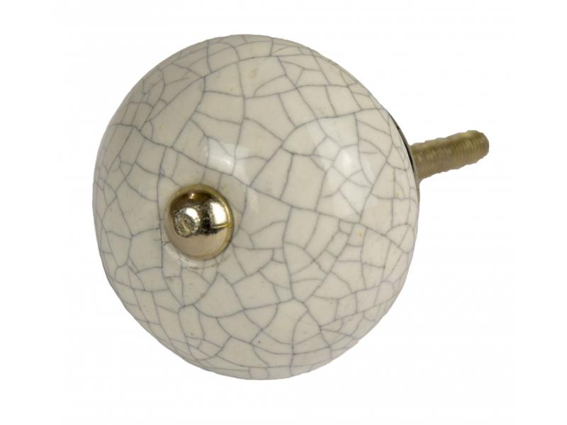 Malované porcelánové madlo na šuplík, bílé, popraskaný efekt, průměr 4 cm