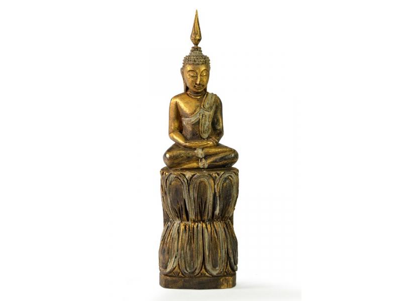 Narozeninový Buddha, čtvrtek, teak, zlatá patina, 26cm