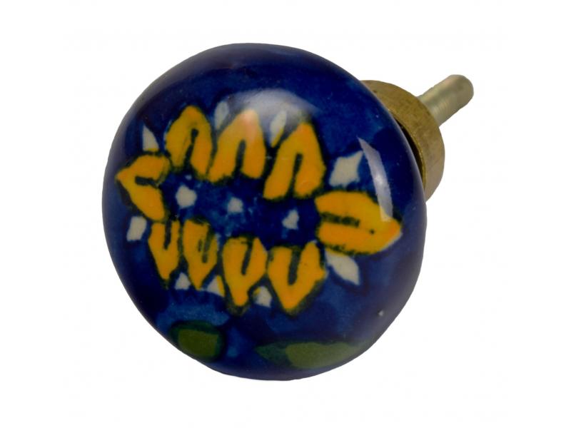 Malovaná porcelánová úchytka na šuplík, modrá, velká žlutá květina, 3,7 cm