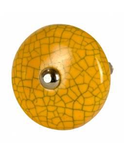 Malovaná porcelánová úchytka na šuplík, oranžová, popraskaný efekt, 4,2 cm