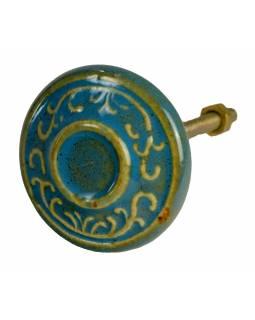 Malovaná porcelánová úchytka na šuplík, modrá s dekorem, průměr 4,3 cm