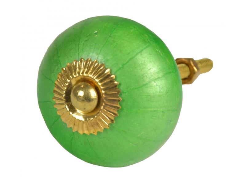 Malovaná porcelánová úchytka na šuplík, perleťově zelená, průměr 4 cm