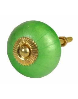 Malované porcelánové madlo na šuplík, perleťově zelené, průměr 4 cm