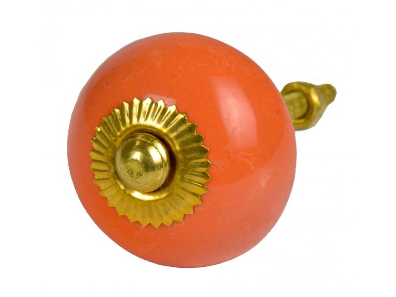Malovaná porcelánová úchytka na šuplík, světle oranžová, zlatý dekor, 3,7cm