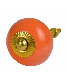 Malované porcelánové madlo na šuplík, světle oranžové, zlatý dekor, průměr 3,7cm