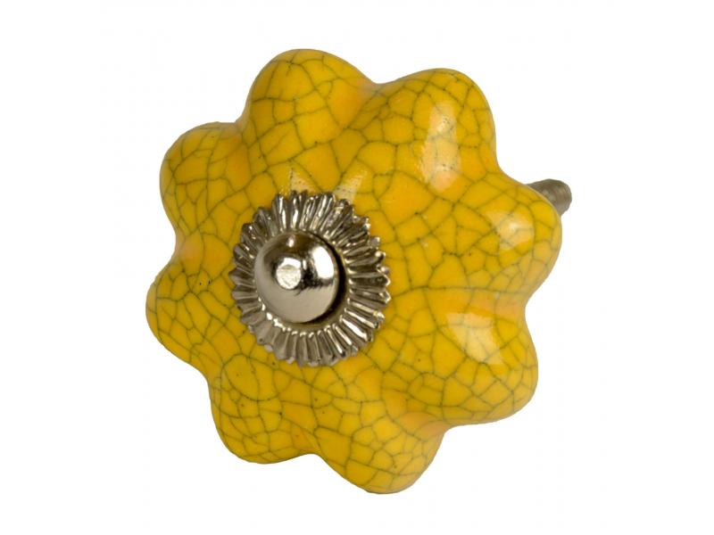 Malované porcelánové madlo na šuplík, žluté, tvar květiny, popraskaný efekt, 4cm