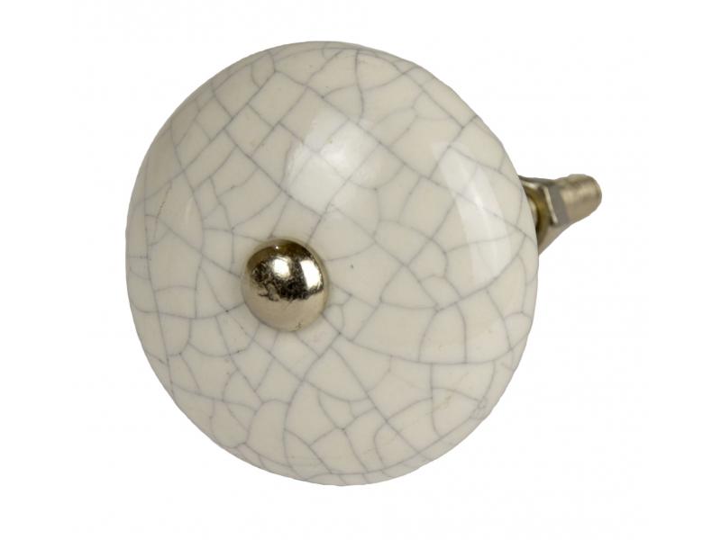 Malovaná porcelánová úchytka na šuplík, bílá, zploštělý tvar, popraskaný efekt