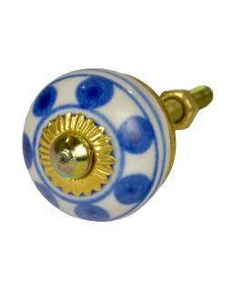 Malované porcelánové madlo na šuplík, bílé s modrými puntíky a proužky, 3cm