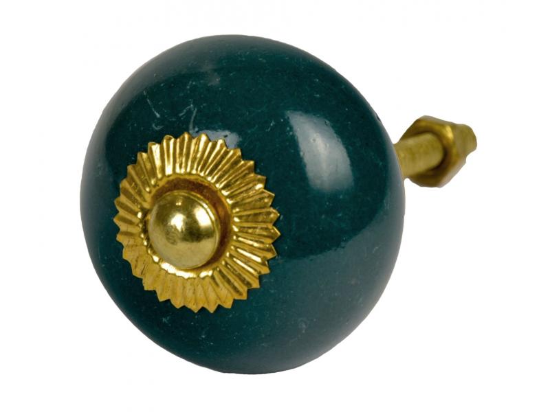 Malovaná porcelánová úchytka na šuplík, smaragdově zelená, zlatý dekor, 4cm