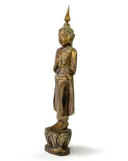 Narozeninový Buddha, pátek, teak, zlatá patina, 26cm